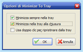 Minimize to tray